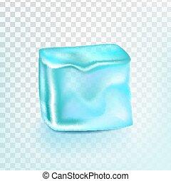 cubo, transpatrent, aislado, hielo, realista, coctail, ilustración, vector., brillante, element.