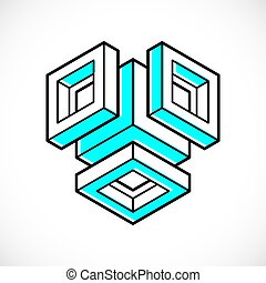 cubo, tridimensional, forma abstracta, vector, diseño, element.