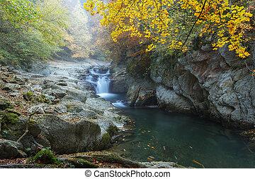 cubo, vízesés, alatt, ősz, -ban, irati, erdő