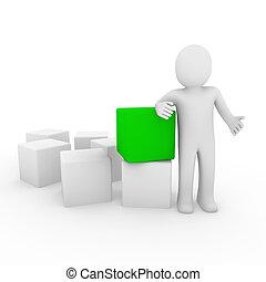 cubo, verde, human, 3d
