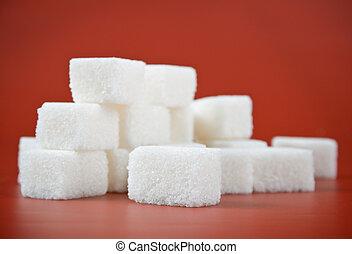 cubo vermelho, fundo, punhado, açúcar