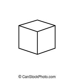 cubo, vettore, disegno, icona, logotipo, 3d