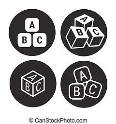 cubos, abc, ícones
