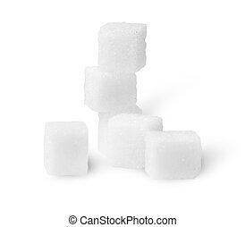cubos, algum, açúcar