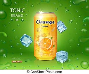 cubos, anúncios, lata, bebida, metal, amarela, contido, desenho, gelo, laranja, macio