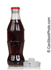 cubos, botella, hielo, cola