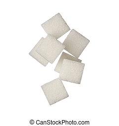 cubos, cima, açúcar, fundo, fim, branca