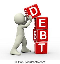 cubos, colocación, 3d, deuda, hombre