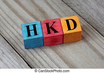 cubos, colorido, de madera, kong, dollar), (hong, señal, hkd