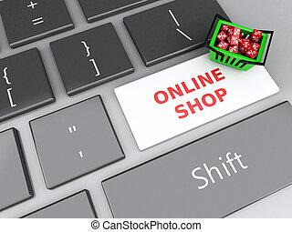 cubos, compras, computadora, en línea, cesta, keyboard., rojo, 3d