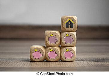 cubos, dados, casa madeira, piggy, fundo, banco, ícone