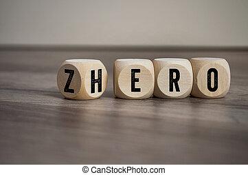 cubos, dados, cero, plano de fondo, de madera, héroe, palabras
