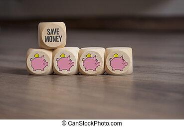 cubos, dados, dinheiro, cofres, salvar