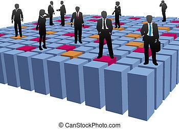 cubos, empresarios, compañía, equipo de trabajo, resumen