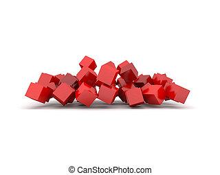 cubos, experiência vermelha
