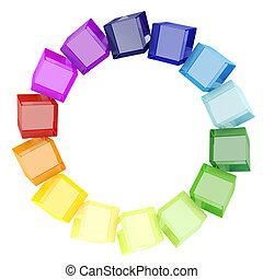 cubos, fundo branco, coloridos, 3d