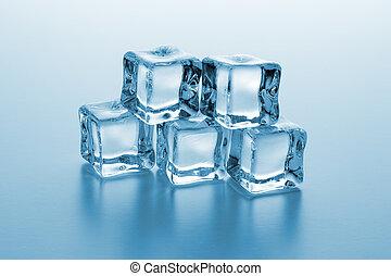 cubos, gelo, montão