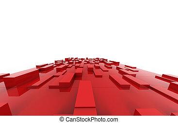 cubos, illustration., abstratos, pattern., fundo, vermelho, 3d