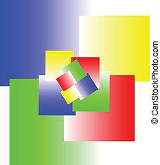 cubos, ilustração, sinal