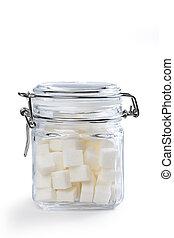 cubos, jarro, açúcar