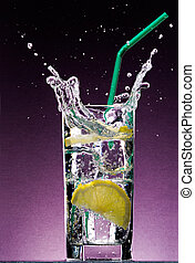 cubos, limón, alcohólico, paja, bebida, hielo, cortar,...