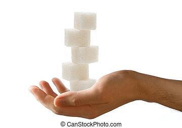 cubos, macho, mão, açúcar