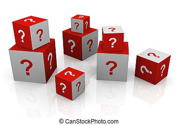 cubos, marca pergunta