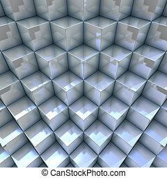 cubos, modernos, organizado, fundo, blueish, 3d