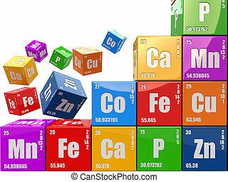 cubos, pared, concept., 3d, tabla periódica, wiyh, element., química