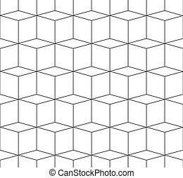 cubos, patrón, repeatable, espacial, monocromo, seamlessly, 3d
