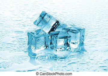 cubos, pilha, fundo, gelo, molhados