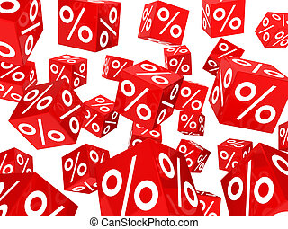 cubos, porcentaje, venta, rojo