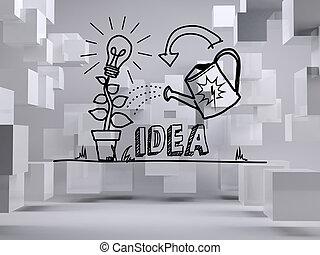 cubos, sala, idéia, cinzento, gráfico, crescendo