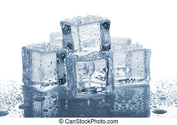 cubos, seis, água gelo, derretido, fundo, branca, gotas