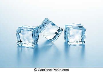 cubos, três, gelo