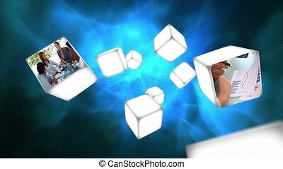 cubos, vídeo, flutuante, negócio