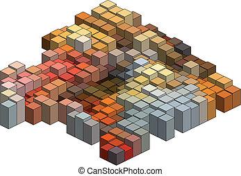 cubos, vector, plano de fondo, 3d