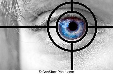 cubrir, ojo azul, y, blanco