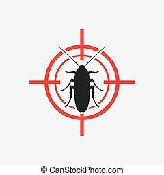 cucaracha, blanco, rojo, icono