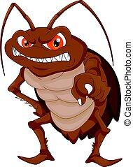 cucaracha, caricatura, enojado