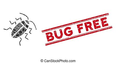 Cucaracha Mosaic and Grunge Bug Free Stamp Seal with Lines