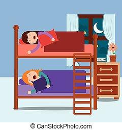 cuccetta, camera letto, ragazze, giovane, letto, addormentato, notte