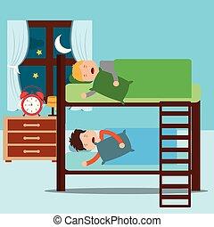 cuccetta, notte, letto, ragazzi, addormentato, camera letto