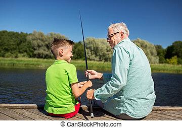cuccetta, pesca fiume, nipote, nonno