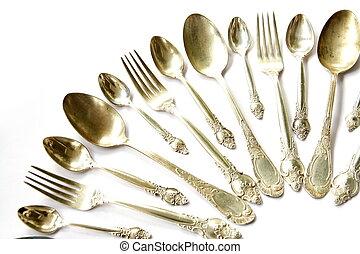 cucchiai, cucchiai, forche, argento, tè