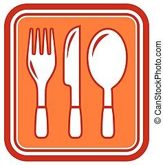 cucchiaio, coltello, forchetta, icona