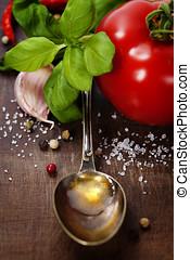 cucchiaio, con, olio oliva, e, verdura