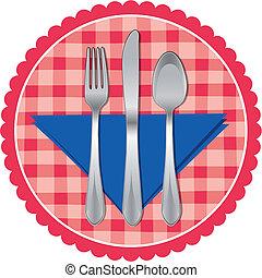 cucchiaio, forchetta, &, coltello, su, tovaglia