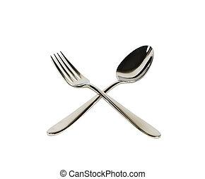 cucchiaio, forchetta, isolato, bianco
