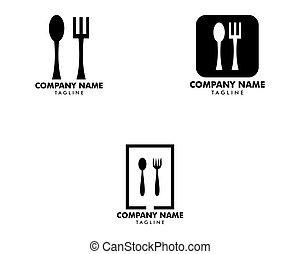 cucchiaio, illustrazione, ristorante, set, logotipo, forchetta, coltelleria, vettore